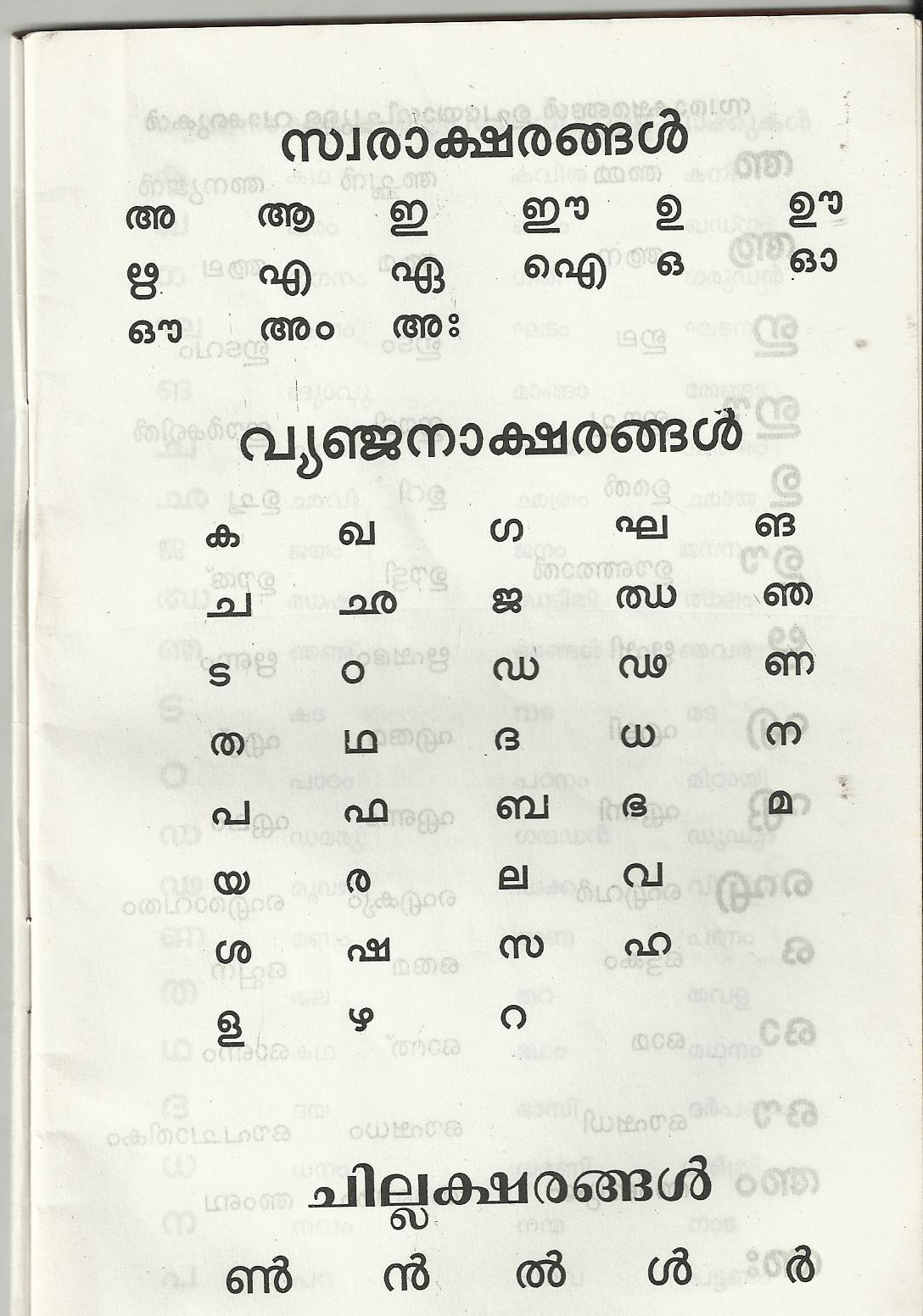Pathanapuram Malayalam Alphabets