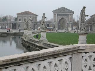 Statues and a canal line Padua's Prato della Valle, site of a former Roman theatre