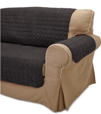 Black Quilted Micro Suede Protector Sofa Slip Cover Throw