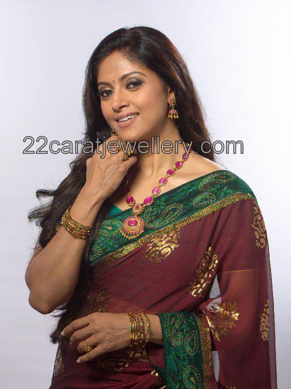 nadhiya in beautiful ruby long chain jewellery designs