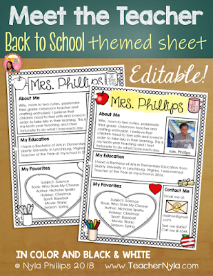 Meet the Teacher Editable Template - Back to School Theme