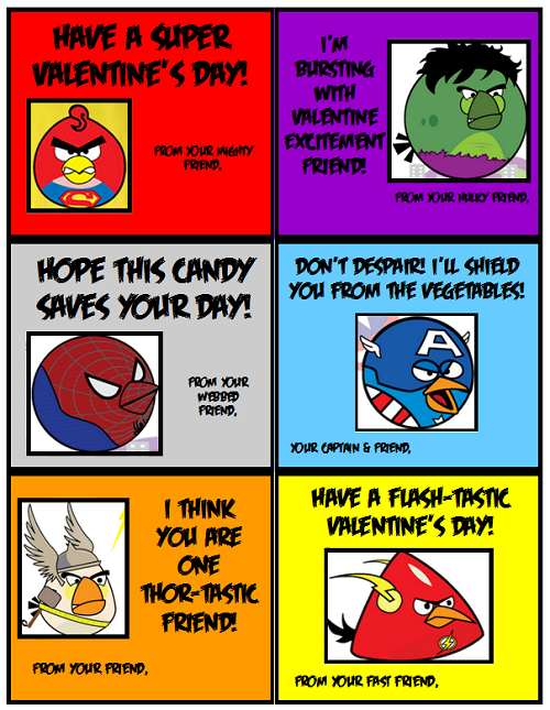 """Angry Birds """"Super"""" Valentines"""