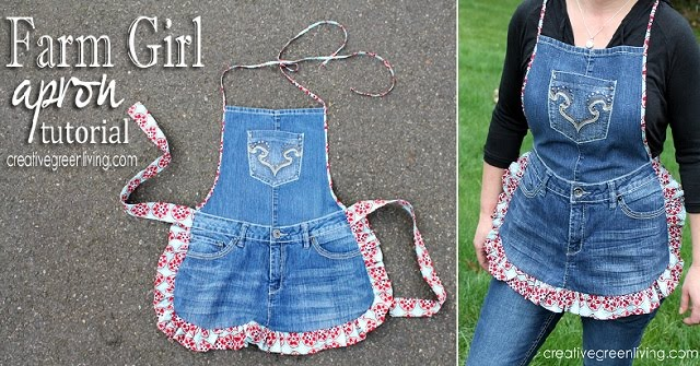 How to Make a Farm Girl Apron from Recycled Jeans