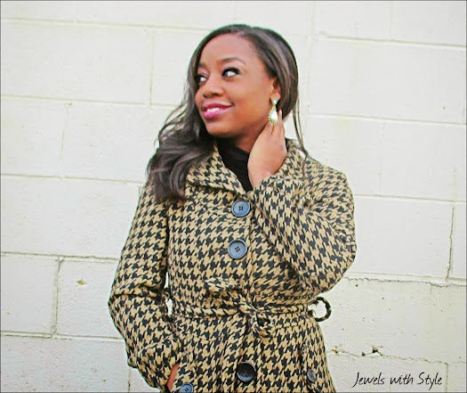 houndstooth coat, M Renee Design, black fashion blogger, style blog, Jewels with Style