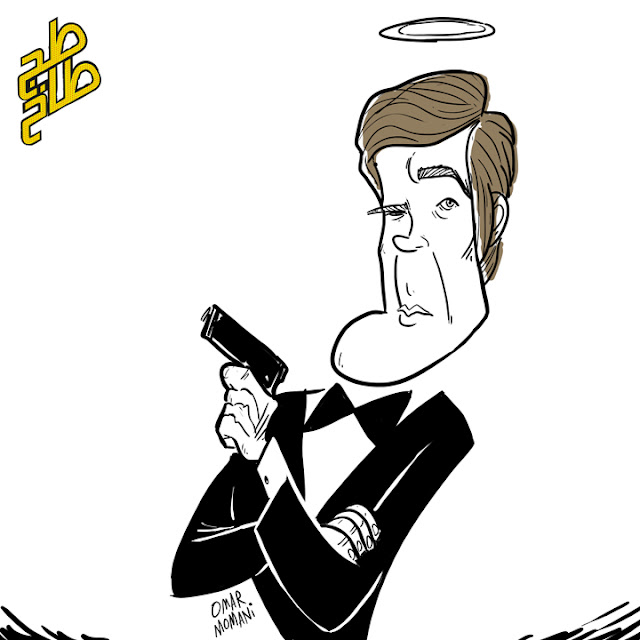Roger Moore James Bond cartoon caricature