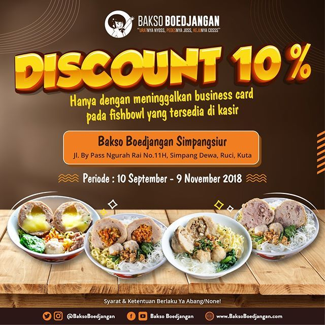 BaksoBoedjangan - Promo Diskon 10% Dengan Simpan Bussines Card (Khusus Bali)