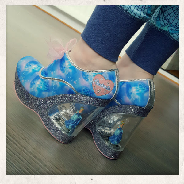 wearing call me cinders irregular choice shoes glitter wedge