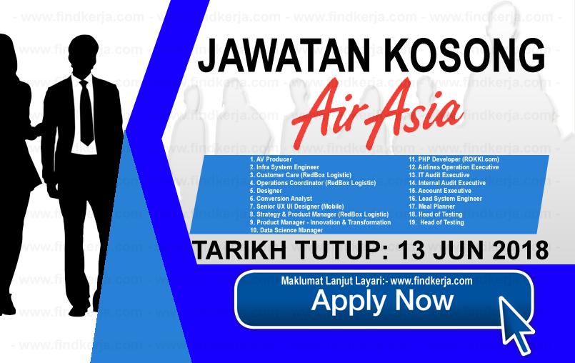 Jawatan Kerja Kosong AirAsia Berhad logo www.findkerja.com jun 2018