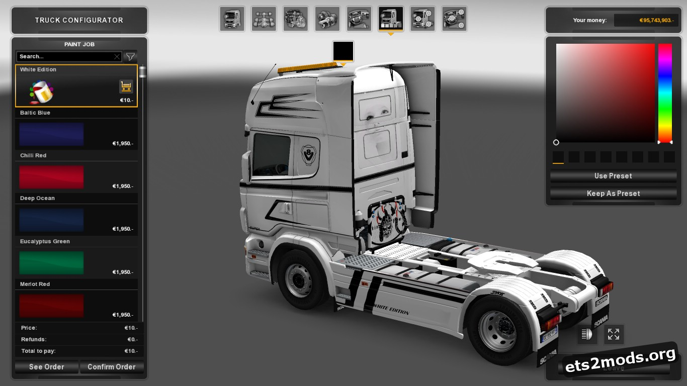 White Edition Skin for Scania RJL