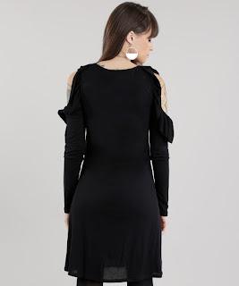 vestido open shoulder com babados preto
