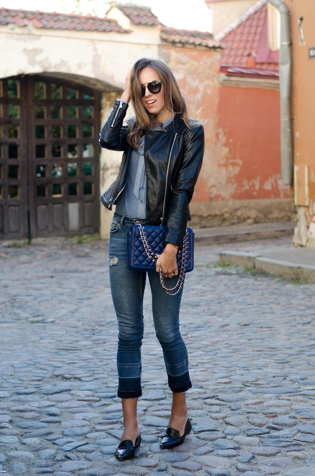 kristjaana mere leather jacket skinny jeans summer outfit