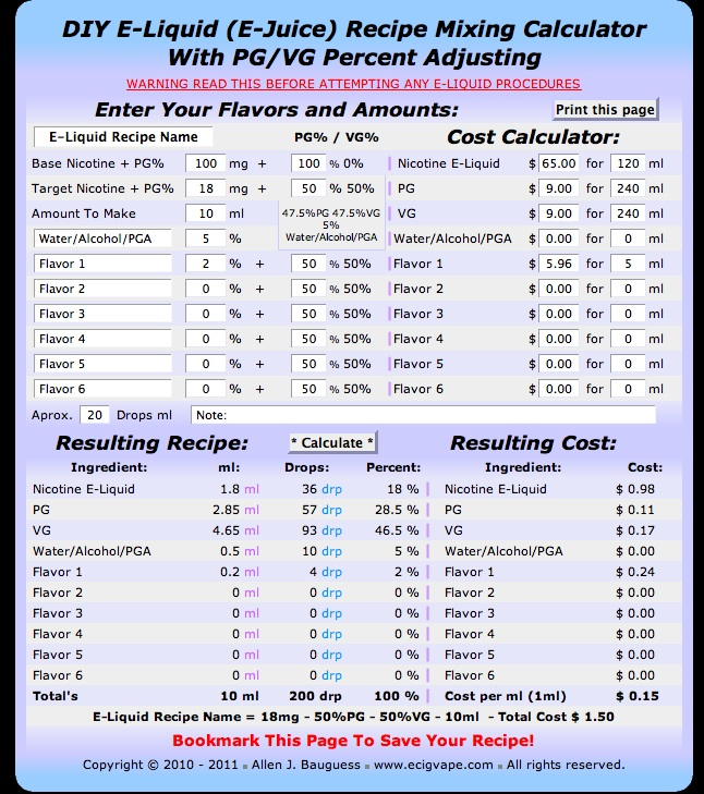 Online diy ejuice mixing calculator steve ks vaping world diy e juice calculator solutioingenieria Images