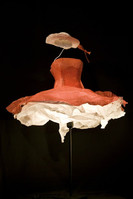 red and white polka dot sculpted paper dress with hat