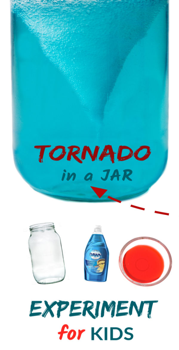 Wow the kids and make a tornado in a jar!  This simple science activity is great for kids of all ages and contains the mess- gotta love that! #sciencefairprojects #scienceexperimentskids #scienceexperiments #tornadosciencefairproject #tornadoinabottle #tornado #tornadoinajar #tornadoexperiment #growingajeweledrose