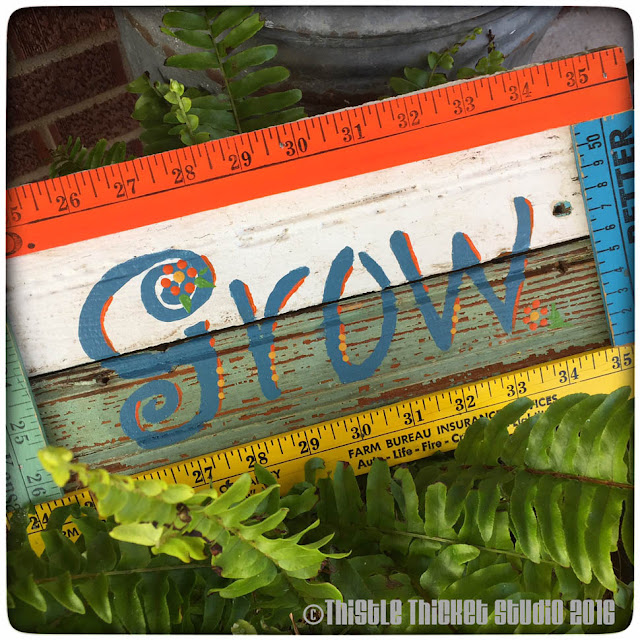"""""""Grow"""" Garden Sign by Thistle Thicket Studio. www.thistlethicketstudio.com"""