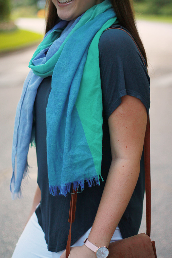 nordstrom tri-toned blue scarf