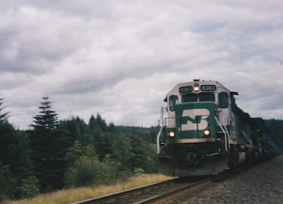 Burlington Northern SD40-2 #6383 at North Bonneville, Washington, on June 7, 1997