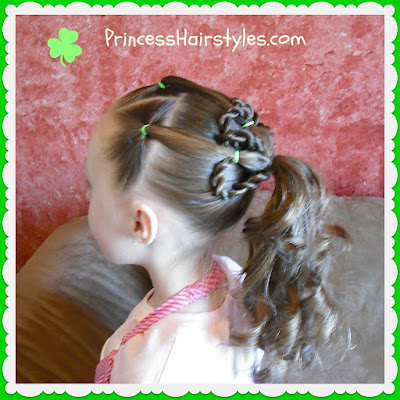 3 leaf clover hairstyle for St. Patricks Day