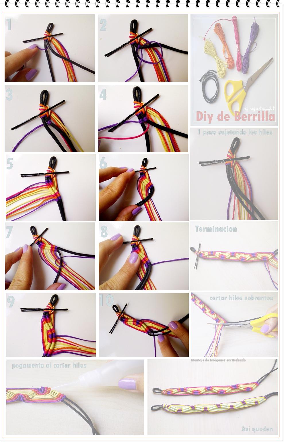 Como hacer 2 Pulseras de Hilos con Ondas u Olas en Relieve 3D Tutorial en Imagenes