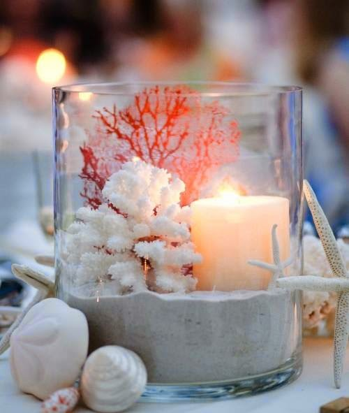 Vase with Coral and Candle