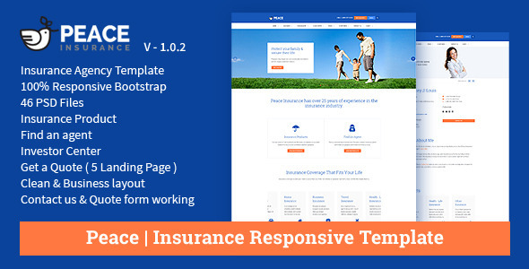 insurance template html free  Peace – Insurance Responsive HTML Template | Download Website ...