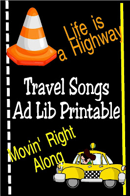 "Keep the kids busy and entertained on your next car trip by changing your favorite travel songs in to Ad Libs that are sure to keep everyone laughing for miles. Print out ad libs from ""Life is a Highway"" and ""Moving Right Along"" to keep your kids from the dreaded ""Are we there yet?"" #cartrip #summervacation #familytrip #adlib #diypartymomblog"