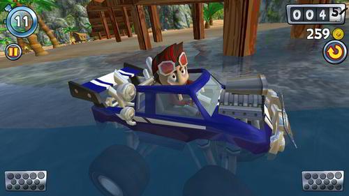 El auto en el agua