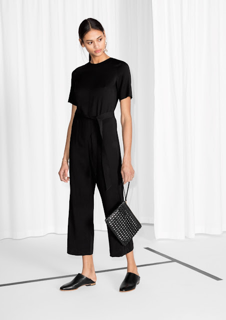 stories black jumpsuit, black tee jumpsuit,