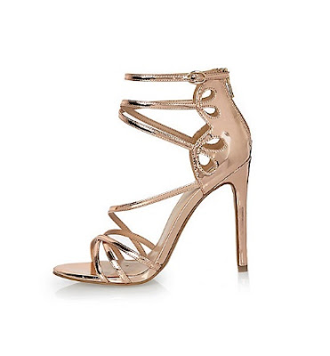 River Island Rose Gold Strappy High Heels