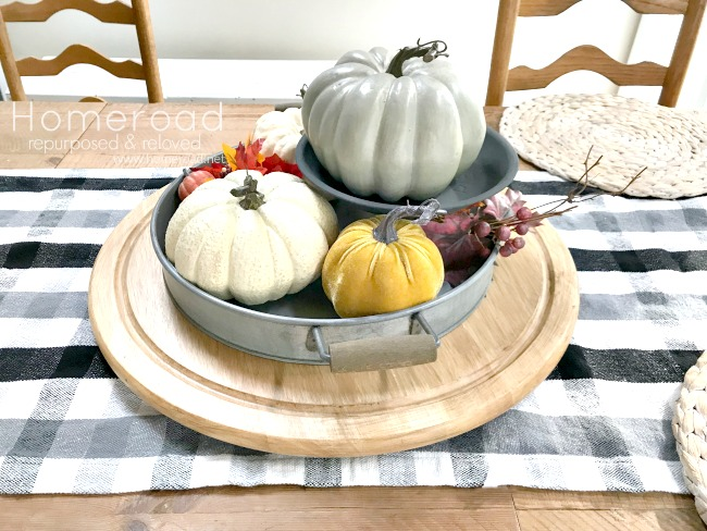 lazy susan with tray full of pumpkins
