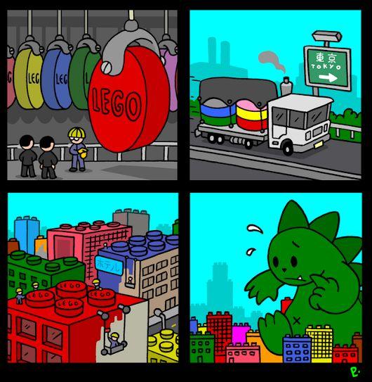FunnyGodzilla Lego Defence System Cartoon Joke Picture