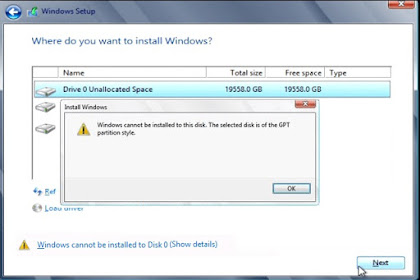 Windows Can not be Install to disk, The Select Disk is of the GPT Partition Style.
