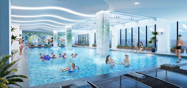 Bể bơi rộng lớn tại The Legend