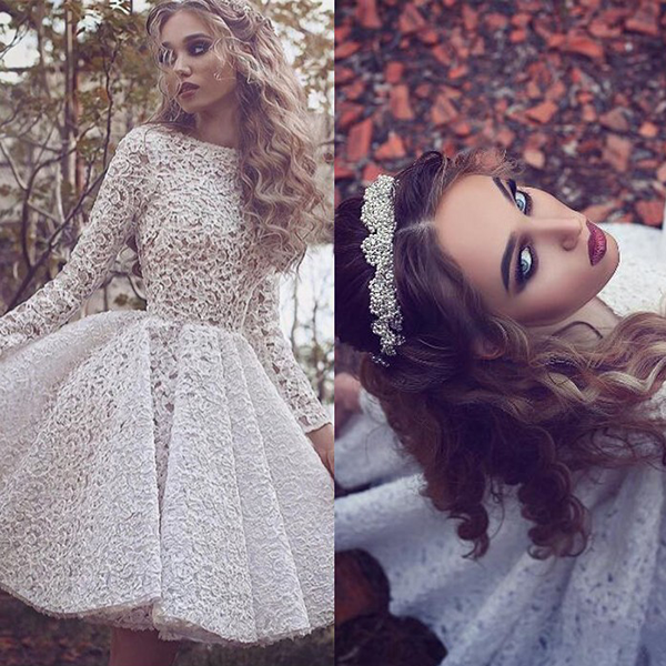 Long-Sleeves White Short Glamorous Full-Lace Homecoming Dress