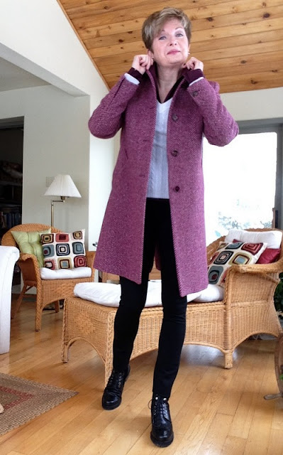 Theory shirt, Holt Renfrew cashmere sweater, Max Mara coat, Vince leggings, Stuart Weitzman boots, Anne Marie Chagnon earrings