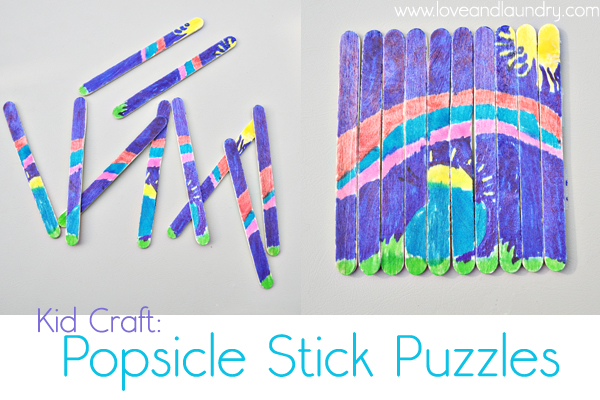These Popsicle Stick Puzzles Were Super Easy To Make AND My Artistic Daughter Absolutely Loved It Shes Been Making Tons Of Her Own Ever Since We