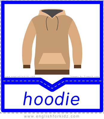 Hoodie - English clothes and accessories flashcards for ESL students