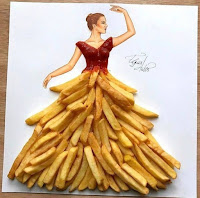 Arte con collage de comida - papas fritas