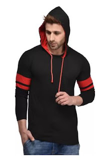 Kay Dee Solid Men's Hooded Black T-Shirt