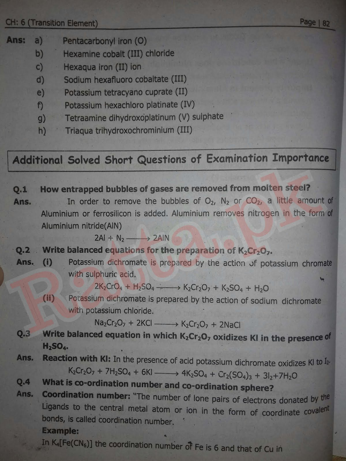 FSc 2nd Year Chemistry Chapter 6 Short Questions