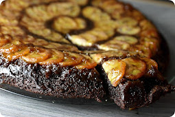 Chocolate Caramel Banana Upside down Skillet Cake