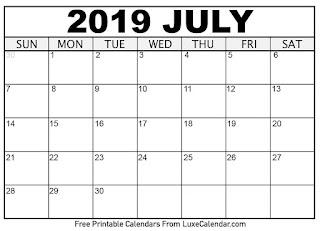 Free Printable Calendar July 2019