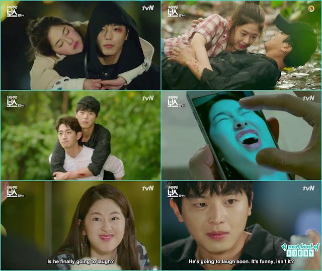 ra won weird selfie make hwang gi laugh - My Shy Boss kiss korean drama