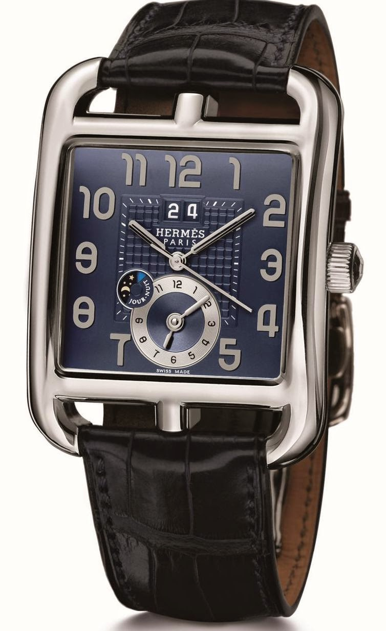 Hermès Cape Cod GMT stainless steel automatic watch with Soprod Module 9351 and blue dial