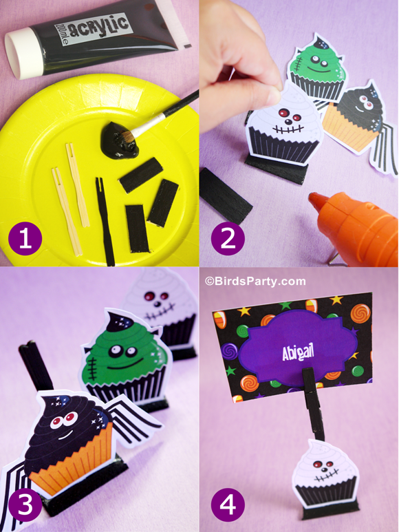 Little Monsters Halloween DIY Place Card Holders - via BirdsParty.com