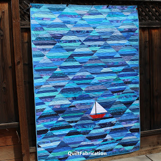 STRING QUILT-SCRAP QUILT-OCEAN QUILT-SAILBOAT