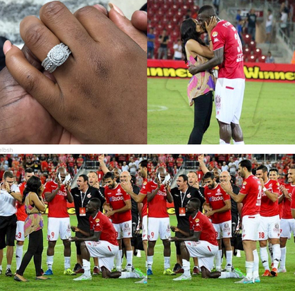Photos: Nigerian footballer, John Ogu proposes to girlfriend on the pitch