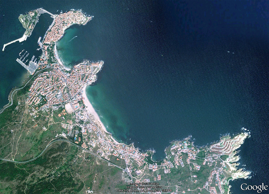 Созополь, вид из космоса   Aerial view of Sozopol