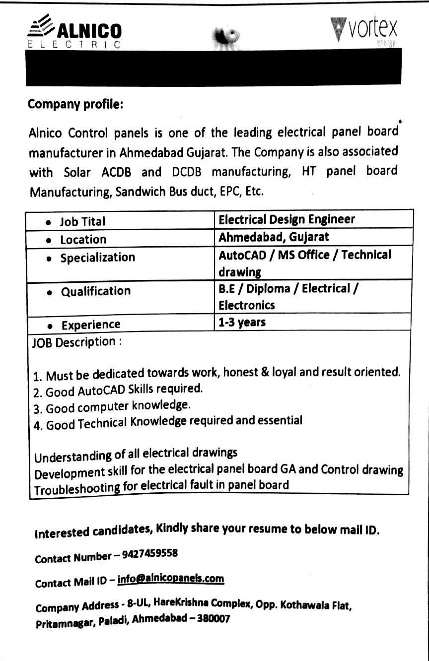 Requirement Diploma Electrical And Electronics Company Alnico Electric Iti And Diploma Jobs