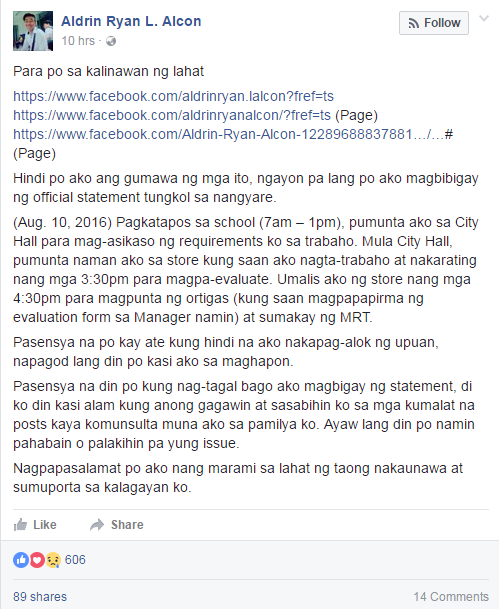Aldrin Alcon Facebook post